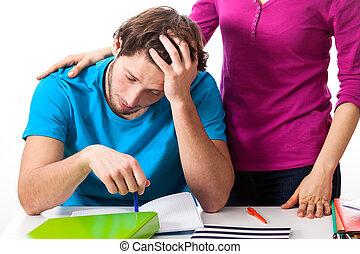 agotado, Estudiante, Sostener, amigo