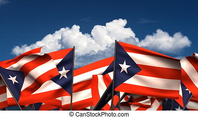 Waving Puerto Rican Flags seamless alpha channel
