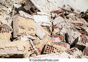 Rubble - Stones and bricks of a demolished house