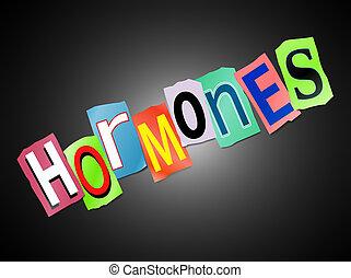 Hormones concept. - Illustration depicting a set of cut out...