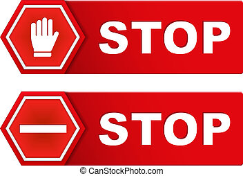 Stop Signs - Two red stop signs, vector eps10 illustration