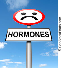 Hormones concept - Illustration depicting a sign with a...