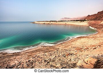 Overview of the Dead Sea shore from Jordan side - Overview...