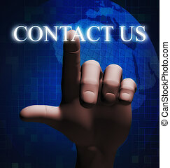 3d finger touching contact us illustration - 3d rendering of...
