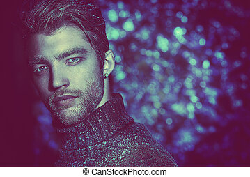 night portrait - Portrait of a handsome man dressed in...