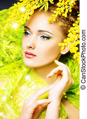 mimosa flowers - Portrait of a beautiful girl with mimosa...
