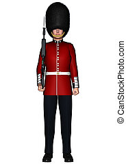 Royal British Guardsman - 3D digital render of a royal...