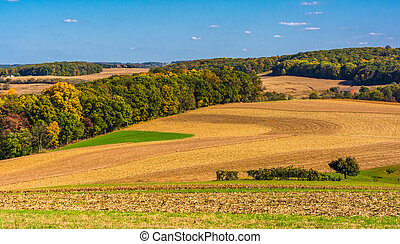 Farm fields and rolling hills in rural Southern York County, Pennsylvania.