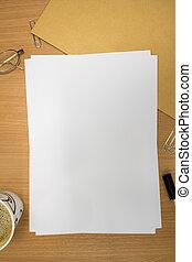 escritorio, con, blanco, papel