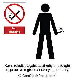 No Smoking - Kevin the rebel cartoon isolated on white...