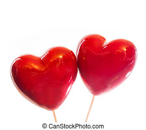 Two red hearts isolated on white, symbol of love