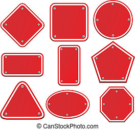 blank red signs