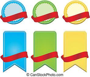 blank badge with ribbon