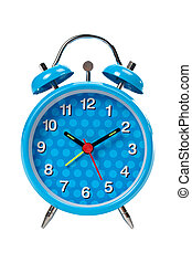 Blue alarm clock with bells on top isolated over white...