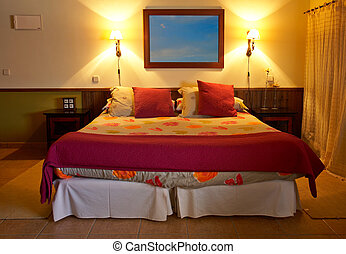 Beautiful bed - A beautiful bed of a small hotel in spring