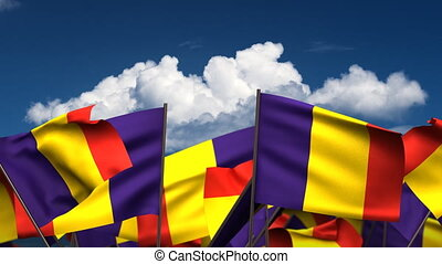 Waving Romanian Flags seamless alpha channel