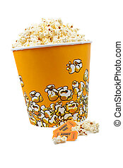 Popcorn and tickets - Popcorn bucket with two tickets on...