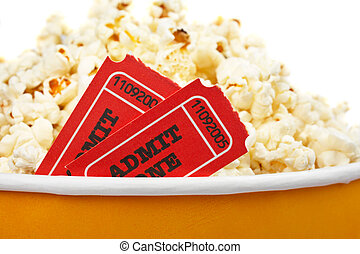 Detail of tickets and popcorn - Detail of popcorn in a...