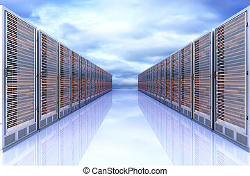 Server Cloud - Server racks in a row 3d illustration