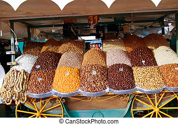 dried fruit market in Marrakesh - A stand of dried fruit in...