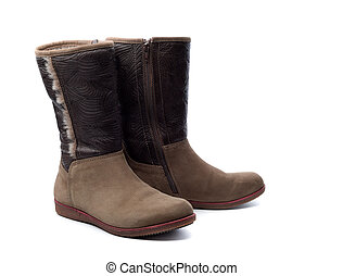 Pair of leather women's boots with fur