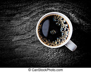 Mug of fresh full roast filter coffee - Close up view of a...