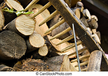 stacked wood logs and rake - A woodpile of chestnut and...