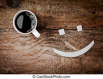 Cup of coffee with a smiling face