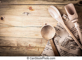 Rustic cooking utensils with a recipe - Rustic cooking...
