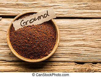 Bowl of ground coffee