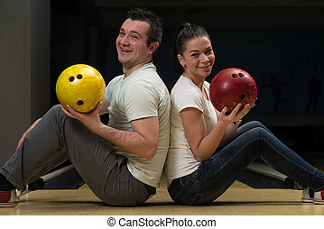 Couple In A Bowling Alley