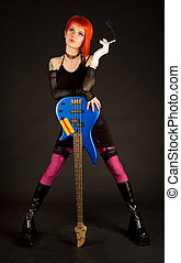 Romantic girl with bass guitar smoking - Romantic rock girl...