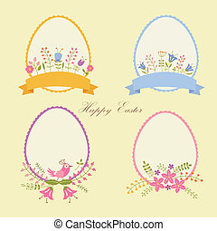 Set of Easter eggs decorated with flowers