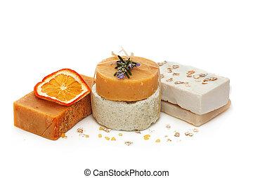 Set of handmade soap - Natural handmade soap over white...