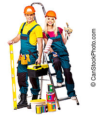 Couple builder  with construction tools. Isolated.