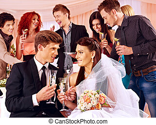 Group people drinking champagne at wedding. - Happy group...