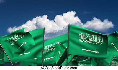 Waving Saudi Arabian Flags seamless alpha channel
