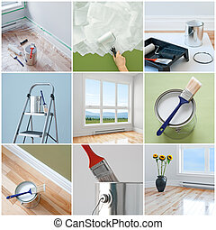 Renovations in a modern home. Collection of 9 images.