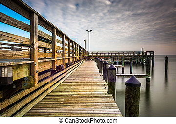 Long exposure taken on the pier in Chesapeake Beach,...