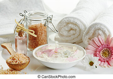 Spa products on a white background