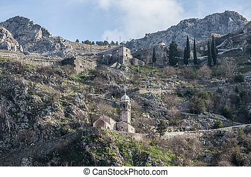 View of Kotor Fortress, Montenegro. - View of Kotor Fortress...