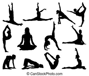 yoga - Big set of yoga silhouettes, vector