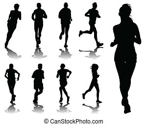 running - Silhouettes with shadows of running , vector