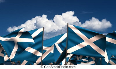 Waving Scottish Flags seamless alpha channel