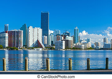 City of Miami Florida, summer panorama of downtown buildings on a beautiful day with blue sky
