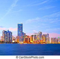 City of Miami Florida, colorful night panorama of downtown...