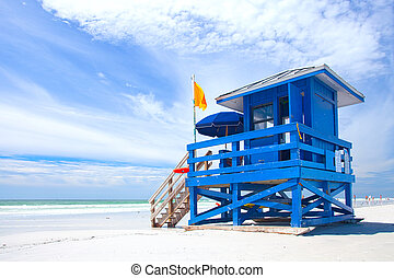 Siesta Key Beach, Florida USA, colorful lifeguard house on a...