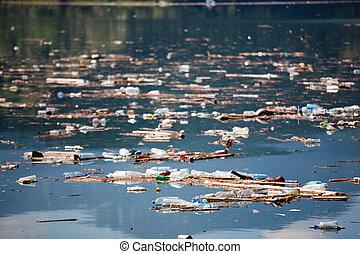 poluído, água