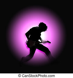 rocker silhouette - Silhouette of a rock star strumming his...