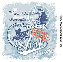 surf soul hawaii crack - surfing vector illustration for...